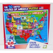 Lpf 60 Piece Puzzle United States Of America (Usa) Map With State Capitals