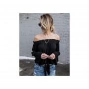 Cuello De Verano Mujer Camisa Irregular Top De Blusa De Encaje Casual Full Flare Sleeve -Negro