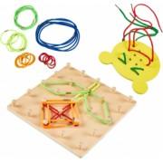 Joc din lemn Montessori Geoboard Snururi si Elastice cu 2 table - Krista and reg