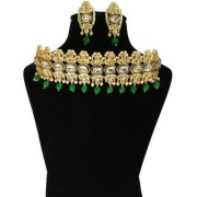 Finekraft Divine Meena Kundan Gold Plated Bridal Wedding Designer Necklace With Beautiful Earrings Set
