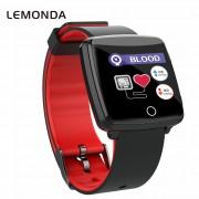 LEMONDA BL89 Smart Wristband Heart Rate Monitor Sports Bracelet Fitness Tracker IP68 Waterproof - Black / Red