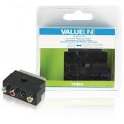 Valueline SCART-Adapter Schakelbaar SCART Male - S-Video Female + 3x RCA Female Zwart