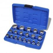 vidaXL Set chei tubulare bihexagonale cu carcasă de depozitare, 19 piese