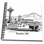 3dRose Seattle Wa Ferry & Space Needle - Drawing Book 8 by 8-Inch (db_14268_1)