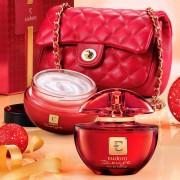 Kit Eudora Rouge Eau de Parfum 75ml + Hidratante Corporal 250g + Bolsa Matelassê Vermelha