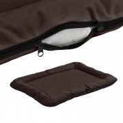 [en.casa]® Cama para mascotas - cama para perros - con cremallera - tejido Oxford / algodón PP - 80 x 60 cm [L] - Marrón