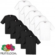 Fruit of the Loom 10 T-Shirt original 100% algodão branco/preto S