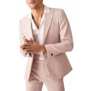 REISS Melody Peak Collar Single Button Jacket SLIM SOFT PINK