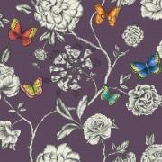 Tapet fluturi si flori pe fundal violet Keilena - Holden