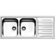 apell Mle1162irbc Lavello Cucina 2 Vasche Incasso Con Gocciolatoio Dx Larghezza 116 Cm Materiale Acciaio Inox Finitura Spazzolato - Mle1162irbc Serie Melodia