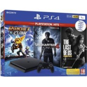 Consola Sony PS4 Slim 1TB Jet Black + Play Station HITS - 3 JOCURI - Last of Us - Ratchet and Clank - Uncharted 4
