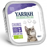 6x100г Yarrah Bio хапчици в сос, консервирана храна за котки - био пиле и био говеждо