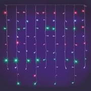 Luci Da Esterno Stalattite 1 x 1 metri, 80 LED Multicolor, cavo trasparente, luce fissa