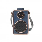 Vintage Super Bass Mini Portable USB Music Speaker MP3 Player With Microphone - Blue