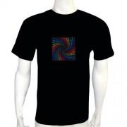 LED Electro Luminescence Visions Shaped Sound Activated Electro Luminescence Flashing Dancing T Shirt Black 12007