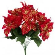 Decoratiune buchet craciunite rosii sclipici Craciun