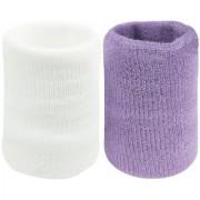 Neska Moda Unisex White And Purple Pack Of 2 Cotton Wrist Band