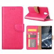 Luxe Lederen Bookcase hoesje voor de Nokia 3.1 - Roze