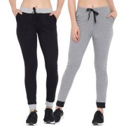 Cliths Women's Cotton Solid Trackpants/Sports Lowers For women/Black And Grey Joggers For Women/ Girls-Pack Of 2