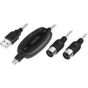 LogiLink UA0037N kabeladapter/verloopstukje USB-A 2x MIDI 5-pin Zwart