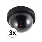 Ben Tools 3x stuks Dummy beveiligingscameras met LED - Dummy beveiligingscamera