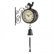 Blumfeldt EARLY BIRD винтидж стоманен стенен часовник и термометър със звънче черен (WTH2-Early Bird)