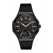 Bulova Womens CURV Gold Diamond Black Dial Rubber Strap Watch 405mm - 012 ctw BLACK