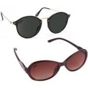 Aligatorr Combo Of 2 Cat Eye Oval Unisex Sunglasses ldy brnoval blackCRLK