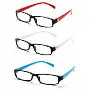 MagJons Red White Light blue Rectangle Unisex spectacles eye wear frame - Combo Of 3