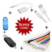 Combo of Aux Spliter Smart OTG Memory Card Reader V8 Micro USB Data Cable Aux Cable - Assorted Color