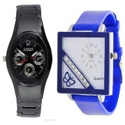 Rosra Black Men and Square Dial Cross Butterfly Blue Women Watches Couple For Men and Women