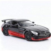 Emob 132 Die Cast Metal Body Mercedes Benz GTR Pull Back Car Toy with Light and Sound Effects (Multicolor)