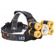 200w 5 LED Fejlámpa 1x T6 + 4x R5 Cree Led 2db Akkumulátorral Zoom