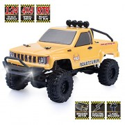 Rgt Rc Crawlers RTR 1/24 Scale 4Wd Off Road Monster Truck Rock Crawler 4X4 Mini Car with Lights (Yellow)