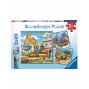 Puzzle Vehicule De Constructie, 3X49 Piese Ravensburger