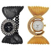 Gold And Black Jewellery Julo Combo Watch For Women Girls pack Of 2 Watch 6 month warranty
