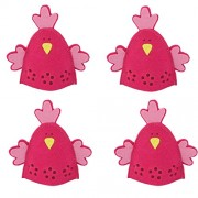 Imported 4pcs Cute Chick Design Easter Egg Covers Holder Decoration Ornament Rose Red