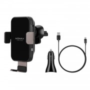 MOMAX Q. Mount Smart Auto Clamping Wireless Charging Car Air Vent Mount + Car Charger + Type-C Cable (Not Support FOD Function) - Black
