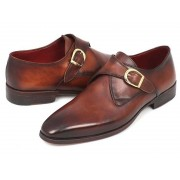 Paul Parkman Calfskin Hand Painted Monk Strap Dress Shoes Brown & Camel 011B44