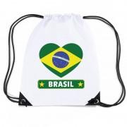 Bellatio Decorations Brazilie hart vlag nylon rugzak wit