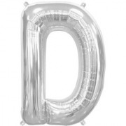 Stylewell 16 Inch Alphabet (D) Soild (Silver) Color 3D Foil Balloons For Birthday And Anniversary Parties Decoration