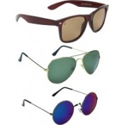 Zyaden Wayfarer, Aviator, Round Sunglasses(Brown, Green, Blue)