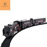 Uniqoutlet Train Toy Play Set for Kids with 1 Engine, 10 set of Tracks, 1 Box car, 1 Passenger Car, Black Color