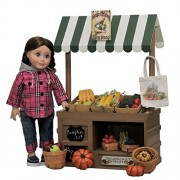 Complete 18 Inch Doll Wooden Roadside Farm stand with Fresh Fruit