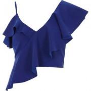 River Island Womens Blue asymmetric frill crop top
