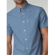 Ben Sherman Main Line Short Sleeve Sky Blue Gingham Shirt Medium sky blue