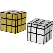 Babytintin High Speed Mirror Magic Silver+ Gold Colors Magic Rubik Cube Puzzle Smooth Magic Rubik's Cube 3D - Brain Teaser Puzzles Recommended for 3 - 99 Years Combo Set of 2 (Mirror Magic Silver+ Gold)
