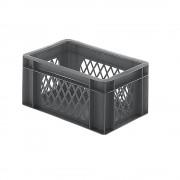 Euro-Format-Stapelbehälter, Wände durchbrochen, Boden geschlossen LxBxH 300 x 200 x 145 mm grau, VE 5 Stk