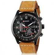 Round Dial Brown Leather Strap Men Quartz Watch for Men