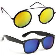 Derry Combo Of Orange Mirrored Round And Blue Mirror Wayfarer Sunglasses